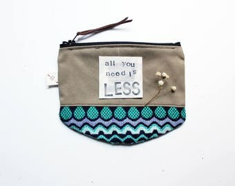 All you need is Less sustainable accessories mindfulness zipper pouch inspirational quote coin purse eco friendly gifts for her under 20