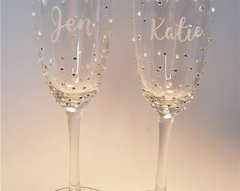 Personalised, Champagne Flute, Prosecco Glass, Mothers Day Gift, Engraved, Favour, Hen Party,  Gift for Her, Wedding Party