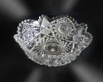 Hawkes clear crystal hand cut bowl with sawtooth rim