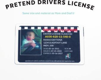 Toy Drivers License - Kids Pretend License - Kids ID - Kid License - Wallet - Childrens - Checkered Flag - Unique Gift - Kids Birthday Gift