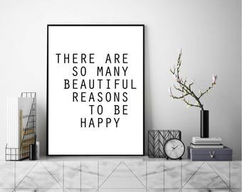 Reasons To Be Happy Print, Wall Art, Modern Art Print, Typography Poster, Literary Print, Literary Quote, Scandinavian Art, Minimalist Print
