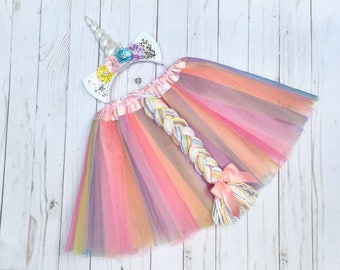 Unicorn costume - girls unicron outfit - pastel unicorn tutu - tutu costume - uicorn headband -unicorn birthday outfit -girls Easter gift