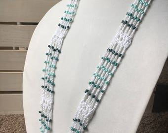 Seafoam Shades and White Crochet Necklace