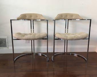 2 Rare Milo Baughman Chairs   Mid Century Modern Thin Chrome Tufted Barrel  Chairs   Linen