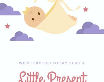 Custom Baby Announcement - Unwrapping Soon