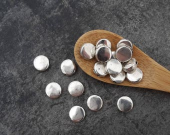 Silver round disc, silver, 6 mm beads