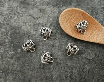 5 pcs beads openwork bails, tube beads, hanging, silver, Metal beads 9.5x8 mm