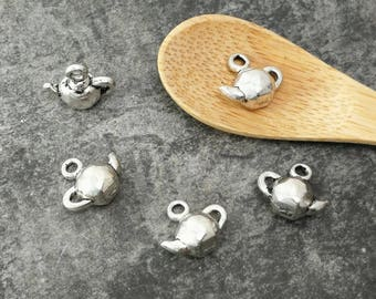 Charms teapots utensils silver metal, 12 mm