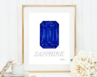 Sapphire Watercolor Rendering printed on Paper