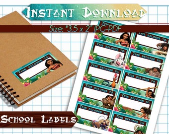Moana Back to School Name Labels - Printable School Labels - Back to School Stickers - Back to School Tags
