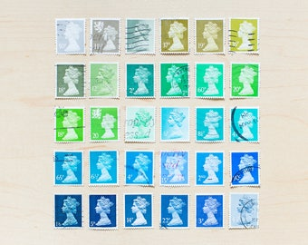 30 Queen Postage Stamps Rainbow Heads Elizabeth II Wedding Shades of Blue Green Great Britain Color Cancelled Used Philately Collage Journal