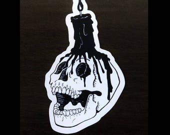 Black Flame Candle Sticker  Ink Skull