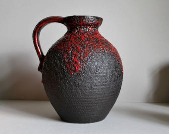 Vintage JOPEKO Fat Lava Vase WEST GERMAN Art Pottery, Model 490-30 Black & Red Volcanic Glaze, Mid Century Modern Ceramics
