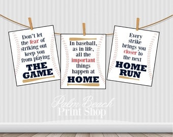 3 Printable Baseball Quotes   Baseball Childrens Room Wall Art   Baseball  Nursery Wall Decor