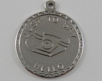 Just To Say Hello Telephone Sterling Silver Vintage Charm For Bracelet