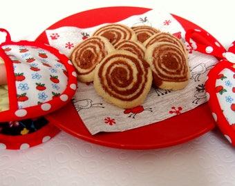 apple oven gloves, oven mitt, panholder, pot cloth, christmas gift, apple pattern, oven cloth