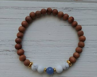 6mm Aquamarine with matte Howlite and Sandalwood bracelet with gold spacers