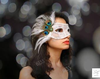 Peacock Face Mask,white Lace Peacock Mask,Masquerade Ball Mask,Half Face Mask,Woman Mask,Prom Mask,Mardi Gras Masks,Dance Mask,