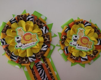 Safari Baby Shower Mommy & Daddy to be Corsage Set