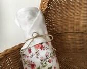 Doudou couverture mousseline coton fleurs vintage bordeaux vert printemps couverture légére