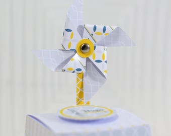 Box dragees with windmill for communion, wedding, anniversary set of 10