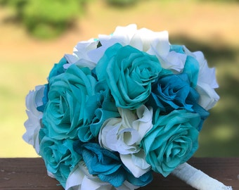 Quinceañera bouquet and Tiara pillow, Sweet 15 bouquet, Set, customizable, turquoise, pillow, Quinceanera pillow