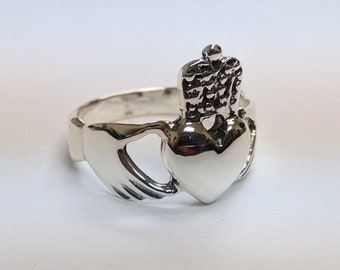 Claddagh Heart & Crown Silver Ring, Size 7 3/4