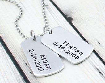 Custom Dog Tag Necklace for Men - Personalized Mens Jewelry - Custom Mens Necklace - Personalized Gift for Man - Husband Gift - Mens Gift