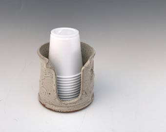 Cream Bathroom Dragonfly Cup Holder (3 oz)  - Pottery Bathroom Cup Holder - Pottery Bathroom Cup Dispenser - Handmade - Ready To Ship