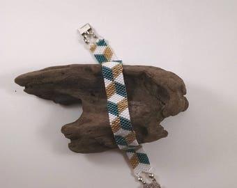 Loom Woven Gold, White, and Green Beaded Bracelet, Bead Loom Bracelet, Boho Jewelry, Gift for Her