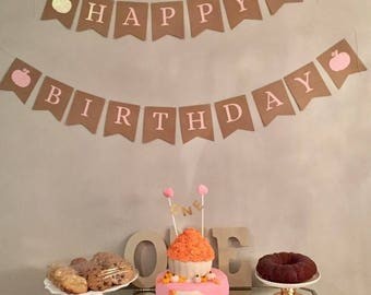 Birthday Pumpkin Banner - Fall Birthday Banner for Girl - Fall Birthday Party Decor - Fall Birthday Decorations - Happy Birthday Banner