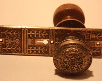 Vintage Brass/Wood Door Knob Set