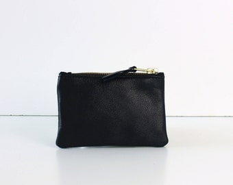 Black Leather Coin Pouch // Coin wallet, Leather coin purse, Leather bag, Change purse, Small zipper pouch, Small leather bag, Coin pouch