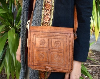 70's tooled leather bag