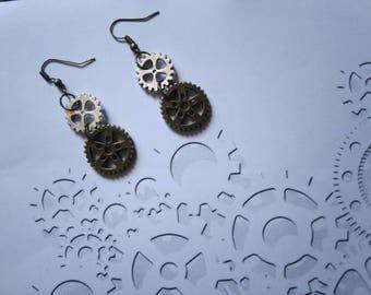 Boucles d'oreilles bronze et argentées engrenages style Steampunk gothique style vintage roues dentées rouages steampunk