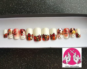 Hand painted Autumn Fall leaves false nails | Little Nail Designs
