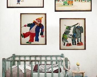 Vintage Circus Print, Clown print, Circus Nursery Wall Hanging, Antique Art Print Vintage Circus, Dumbo Print