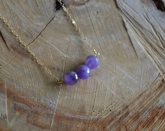 Faceted Amethyst Bead Necklace // Gold Fill // Sobriety Stone // Bubble of Light //Spiritual Protection // Surrender // Divine Connection