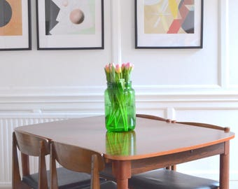 Vintage Danish style rosewood extending table and 4 chairs. Delivery. Modern / Midcentury.