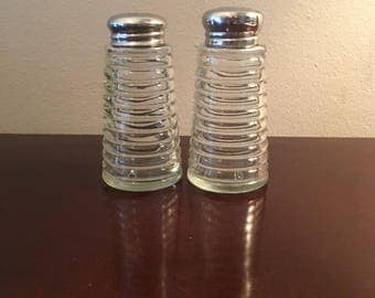 Vintage Ribbed Glass Salt and Pepper Shakers