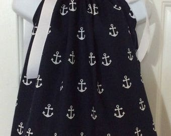 Navy Anchors Pillowcase Dress Size 12M