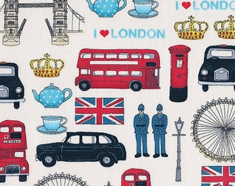 London Revisited Britain's Best British Iconic Landmark London Union Jack Travel Cotton Fabric by Makower