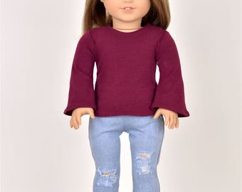 Bell Sleeve top 18 inch doll clothes Burgundy