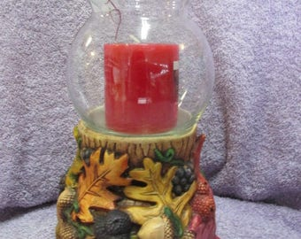 Hand Painted Ceramic Fall Candle Holder