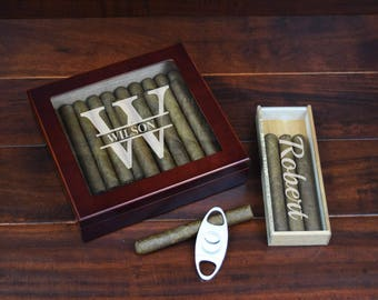 Humidor Gift Set with Engraved Cigar Box Humidor, Travel Case, and Cutter, Groomsmen Gifts, Groomsman, Groom, Best Man, Officiant
