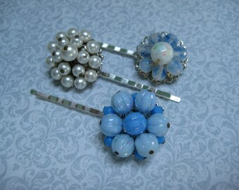vintage hair pins, bobby pins, bobbies, grips slides, set of 3, blue white, bridesmaids, recycled upcycled, repurposed reclaimed  /hp149