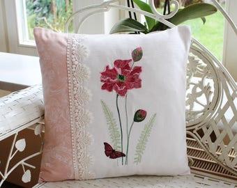 Pillowcase poppy, embroidery
