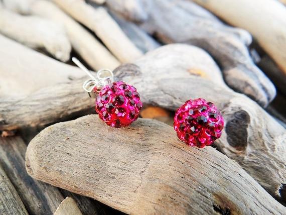 Shamballa Disco Ball Pave Bead Stud Earrings Studs Bling Rhinestone Crystal Handmade Clay Beads