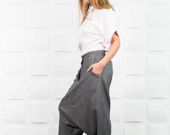 Drop crotch pants, Loose crotch pants, Loose maxi pants, Harem pants, Extravagant pants, Maxi trousers, Extravagant trousers / P0005