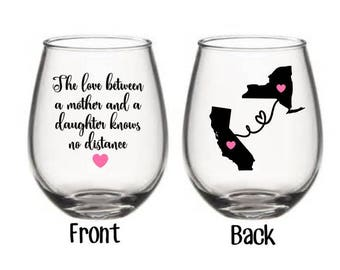 Mother Daughter Wine Glass, Best Friend Wine Glass, Distance Wine Glass, Mother's Day Gift, Mother, Daughter Gift, Mother Gift, Family Gift